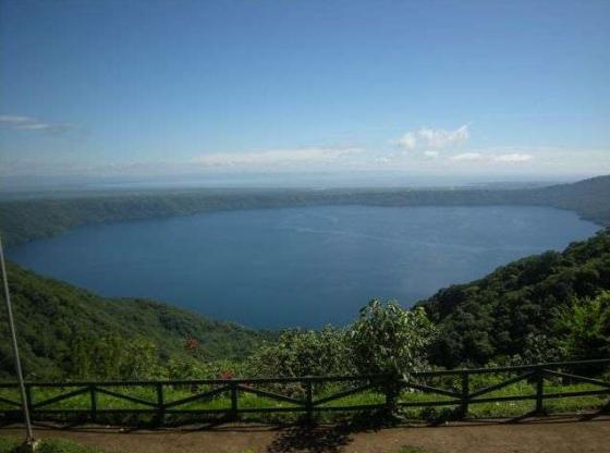 The Apoyo crater lake from the viewpoint at Catarina