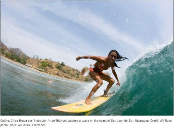 Cutline: Chica Brava surf instructor Angel Bidinost catches a wave on the coast of San Juan del Sur, Nicaragua . (photo: Will Russ)